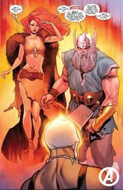 Ghost Rider (1,000,000 BC) (Earth-616), Firehair (Earth-616), and Odin Borson (Earth-616) from Avengers Vol 8 7 001.jpg