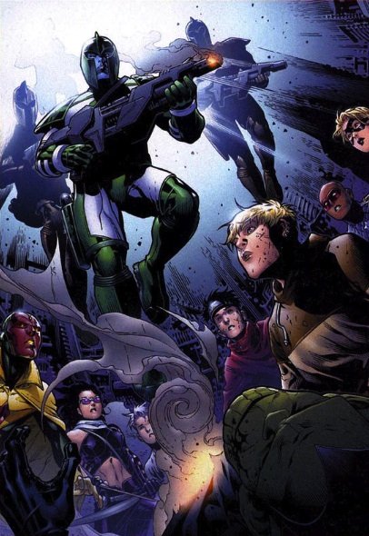 Imperial Kree Army (Earth-616), Kl'rt (Earth-616), and Young Avengers (Earth-616) from Young Avengers Vol 1 10 0001.jpg