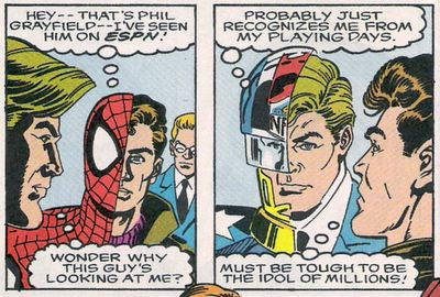 Peter Parker and Phil Grayfield (Earth-616) from NFL Superpro Vol 1 1 0001.jpg