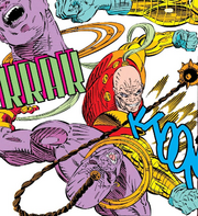 Gideon (Earth-616) vs Crule (Earth-616) from X-Force Vol 1 12 001.png