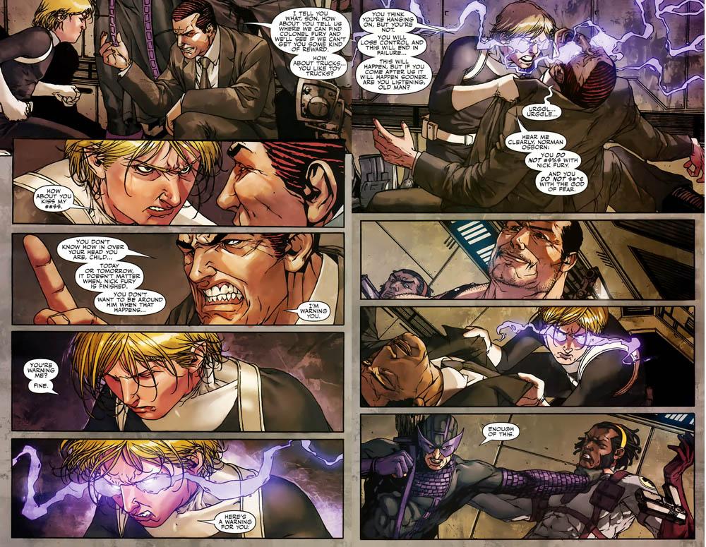Secret Warriors (Earth-616) and H.A.M.M.E.R. (Earth-616) from Secret Warriors Vol 1 8 0001.jpg