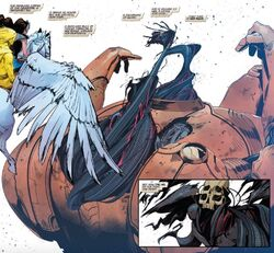 Headless Celestial (Earth-616), Jane Foster (Earth-616), Robert Reynolds (Earth-616), and Mr. Horse (Valkyrior Steed) (Earth-616) from King in Black Return of the Valkyries Vol 1 1 001.jpg