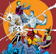 X-Men (Earth-616) and Reavers (Earth-616) from Uncanny X-Men Vol 1 229 cover