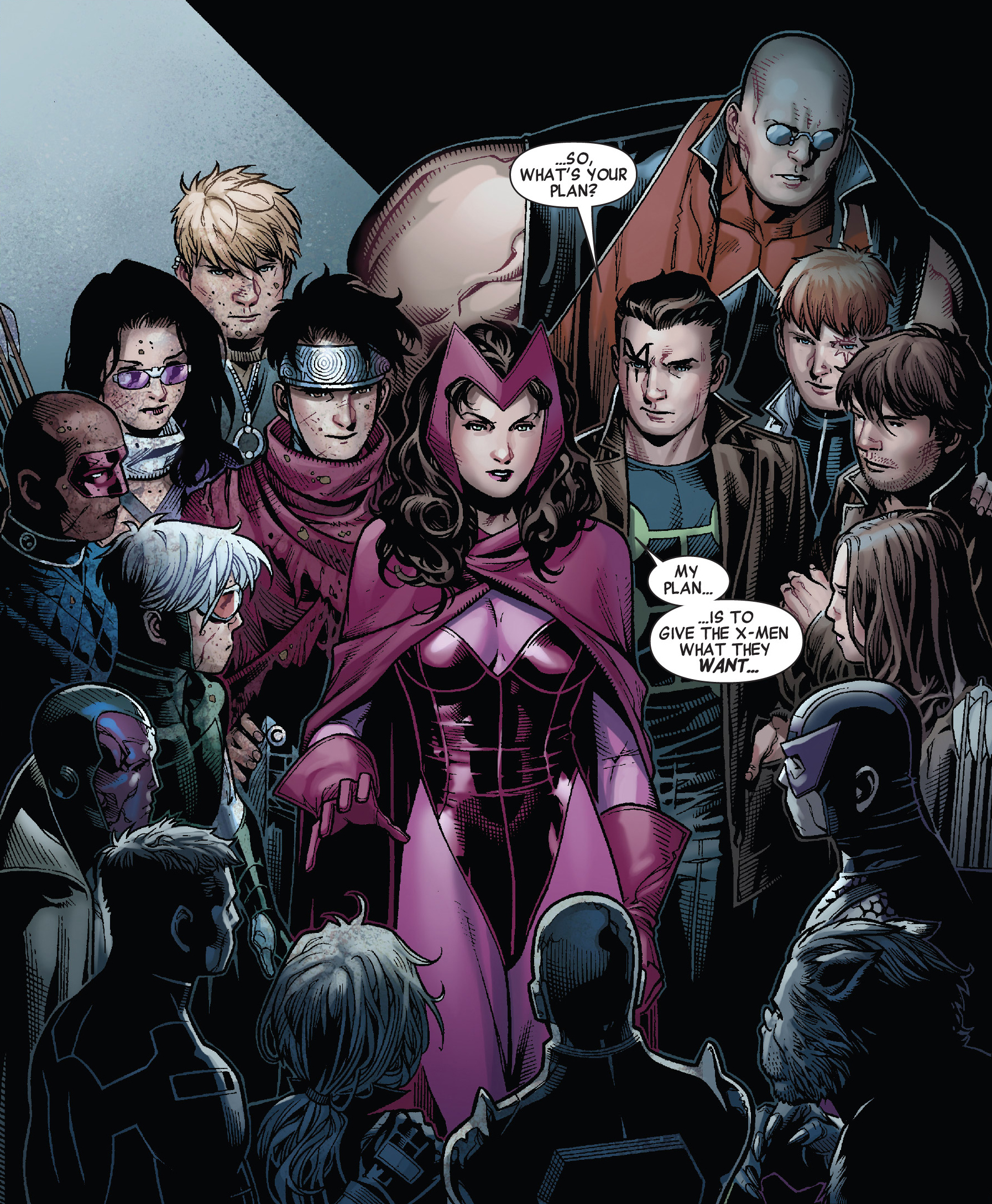 Wanda Maximoff (Earth-616), Young Avengers (Earth-616), and X-Factor Investigations (Earth-616) from Avengers The Children's Crusade Vol 1 6 001.jpg
