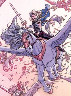 Brunnhilde (Earth-616) and Aragorn (Earth-616) from War of the Realms Vol 1 2 001.jpg