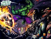 Johnathon Blaze (Earth-7642), Bruce Banner (Earth-7642), Sara Pezzini (Earth-7642), Franchetti Mafia (Earth-7642), and Danielle Baptiste (Earth-7642) from Darkness Incredible Hulk Vol 1 1 001.jpg