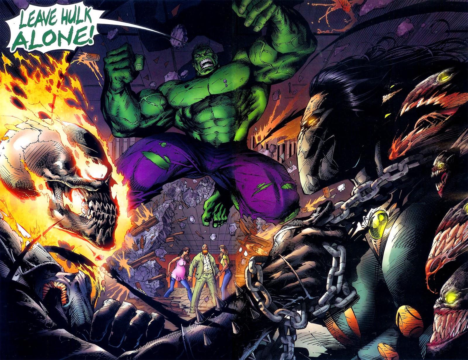 Johnathon Blaze (Earth-7642), Bruce Banner (Earth-7642), Sara Pezzini (Earth-7642), Franchetti Mafia (Earth-7642), and Danielle Baptiste (Earth-7642) from Darkness Incredible Hulk Vol 1 1 001.jpg