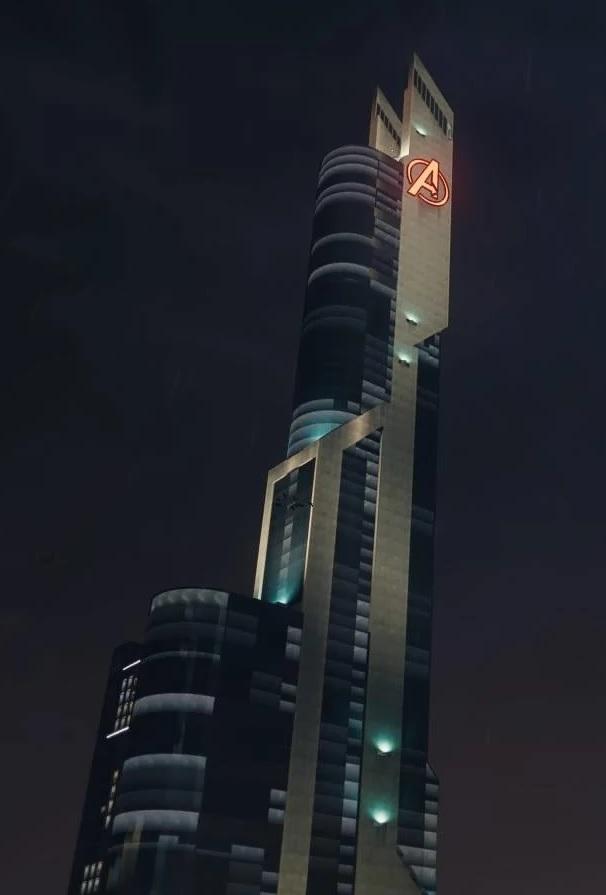 Stark Tower (Columbus Circle, Rebuilt) from Marvel's Spider-Man (video game) 001.jpg