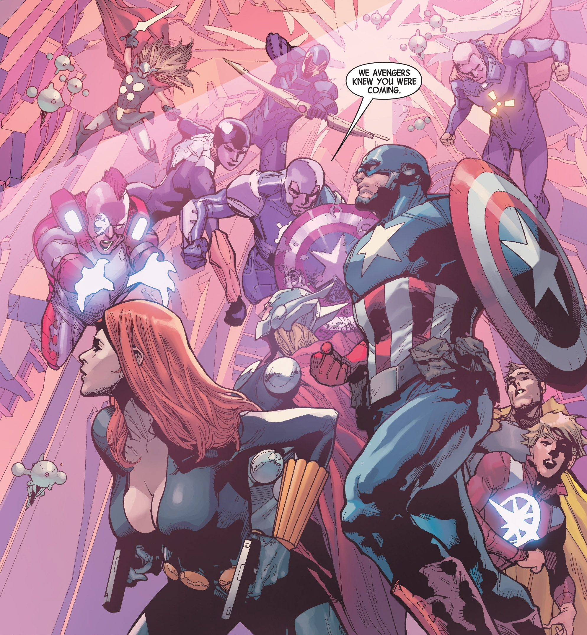 Avengers (Earth-616) and Avengers (A.I.) (Earth-14831) from Avengers Vol 5 31 001.jpg