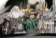 Loki Laufeyson (Earth-616), Odin Borson (Earth-616), Freyja Freyrdottir (Earth-616) and Thor Odinson (Earth-616) from War of the Realms War Scrolls Vol 1 2 001