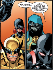 James Howlett (Earth-616), Jean Grey (Earth-616), María Aracely Penalba (Earth-616), and Kaine Parker (Earth-616) from Scarlet Spider Vol 2 17 001.png