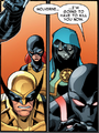 James Howlett (Earth-616), Jean Grey (Earth-616), María Aracely Penalba (Earth-616), and Kaine Parker (Earth-616) from Scarlet Spider Vol 2 17 001