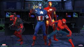 Captain america deadpool spider-man iron man posed group (5)
