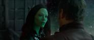 Gamora talking to Star-Lord