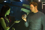 Starlord and Gamora with an Infinity Stone