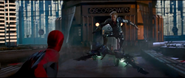 Spider-Man is confronted by The Green Goblin
