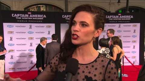 """Captain America The Winter Soldier Hayley Atwell - """"Peggy Carter"""" Movie Premiere Interview"""