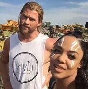 Thor Ragnarok Filming Tessa and Chris (2)