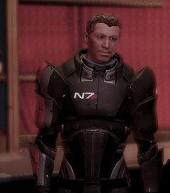 Conrad in the Eternity bar wearing replica N7 armour