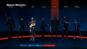 A squad selection screen in Mass Effect 3