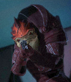 Urdnot Wrex, one of the last Battlemasters, using his shotgun