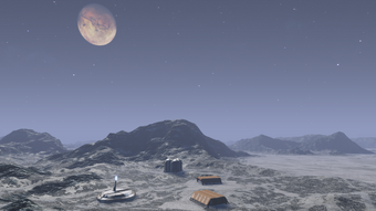 Chohe's moon and the outpost base exterior