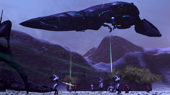 A dropship unloading its complement of troops
