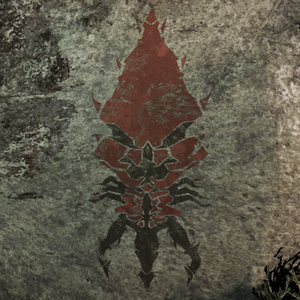 A rock painting of a Leviathan