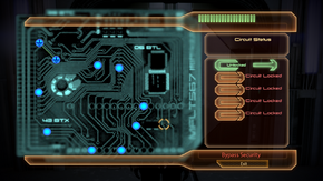 Example of the bypass mini-game, showing a pair of matched nodes
