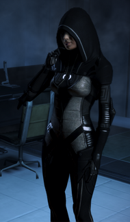 She makes a bonus appearance if you kept her alive from Mass Effect 2