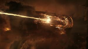 A Collector Cruiser firing its main weapon