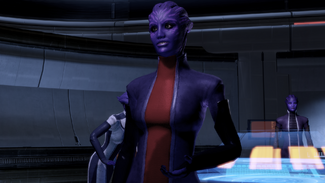 The Gateway Personal Defense asari tries to sway Shepard to her cause with that face