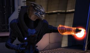 Garrus utilizando una habilidad de tecnología.