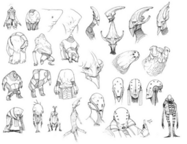 Elcor; different sketches