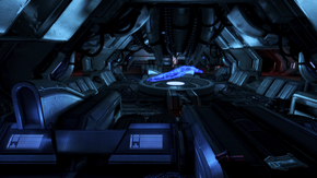 Operations center with scale model hologram of the dreadnought