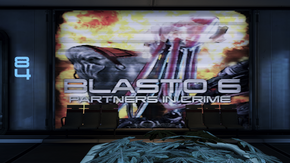 An advert for Blasto 6: Partners in Crime with select dialogue extracts from the movie