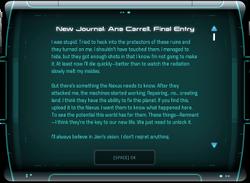 New Journal: Ana Carrell, Final Entry