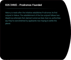 EOS (HNS) - Prodromos Founded