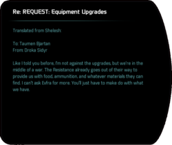 Re: REQUEST: Equipment Upgrades