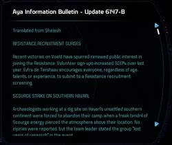 Aya Information Bulletin - Update 6147-B