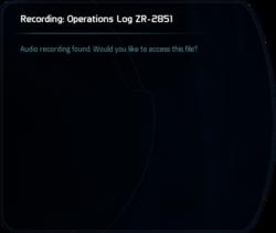 Recording: Operations Log ZR-2851