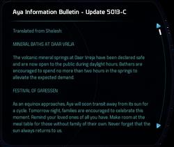 Aya Information Bulletin - Update 5013-C