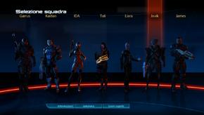 Una schermata di selezione della squadra in Mass Effect 3