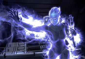 La distintiva aura blu dell'energia oscura