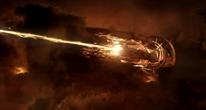 Un Incrociatore dei Collettori mentre fa fuoco con la sua arma principale