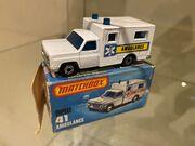 MB41 Ambulance - blue & yellow stripe 'Ambulance' - box