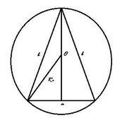 Krug opisan oko jenakokrakog trougla i visina.jpg