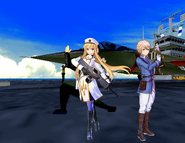 Integrity Navy Commandos(First Version) - Admiral Alice Zuberg(Alice Synthesis Thirty) And Captain Eugeo Synthesis Thirty Two Behind Rafale M Fighter Aircraft