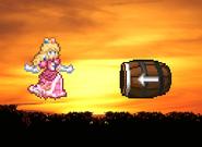 Peach and the Barrel cannon