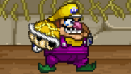 Wario holding a Yellow Shell